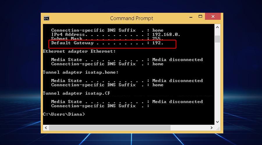 Windows shows IP address default gateway