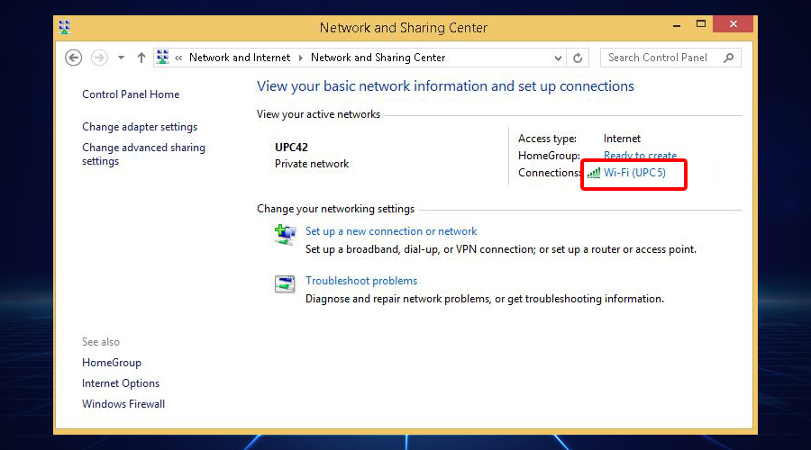 Windows shows WiFi network and sharing